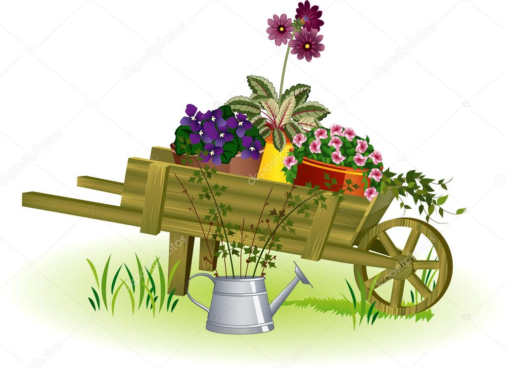 Wheelbarrow with flowers clipart